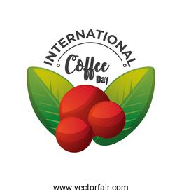 international coffee day label with mature berries