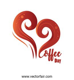 coffee day label with a heart