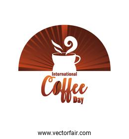 international coffee day label with coffee cup