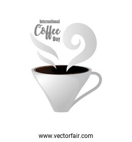 international coffee day label with cup of coffee steamy