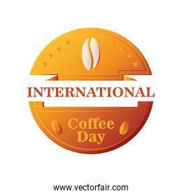 international coffee day label with decorative ribbon and coffee beans