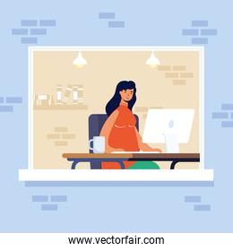 young woman female using desktop in workplace