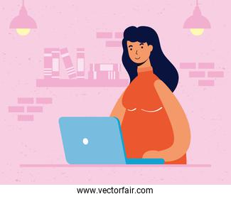 young woman female working in laptop in the house