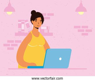 young woman female working in laptop in the house scene