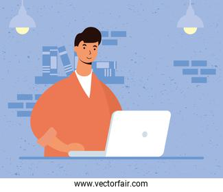 young man male using laptop in the house scene