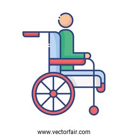 wheelchair with disabled person flat style icon
