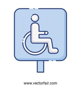 wheelchair disabled signal traffic flat style icon