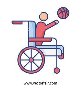 man playing basketball in wheelchair disabled flat style icon