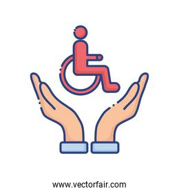hands protecting wheelchair disabled flat style icon