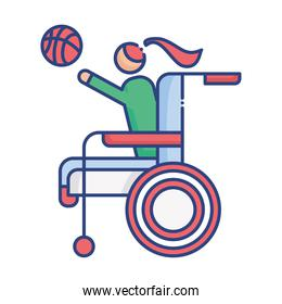 woman playing basketball in wheelchair disabled flat style icon