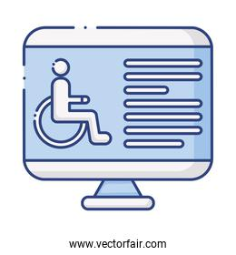 desktop with wheelchair disabled flat style icon