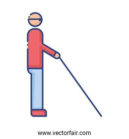 person blind disabled flat style icon