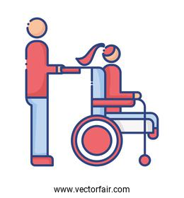 helper with woman in wheelchair disabled flat style icon