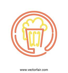 beer drinks and beverage neon sign icon on white background