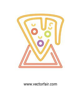 pizza fast food neon sign icon on white background