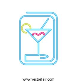 cocktail drinks neon sign icon on white background