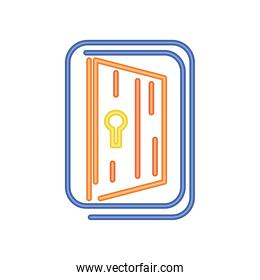 door neon light, entrance sign icon on white background