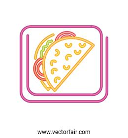 fast food taco neon sign icon on white background