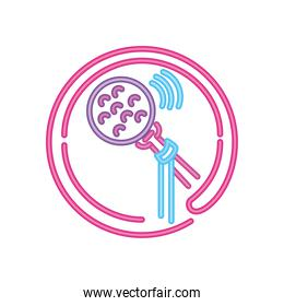 karaoke and live singers neon sign icon on white background
