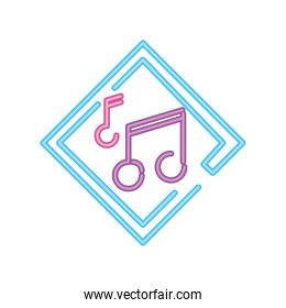 music notes neon sign icon on white background