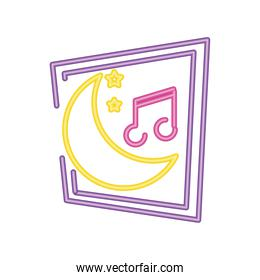 music party night neon sign icon on white background