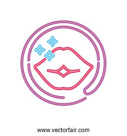 lips of a girl night club, neon sign icon on white background