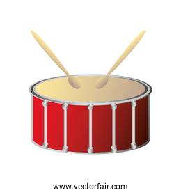 drum with sticks percussion musical instrument detailed icon