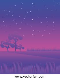 landscape night trees field and meadow nature image