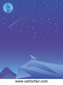 landscape with wolf howling at the moon and shooting star in the sky