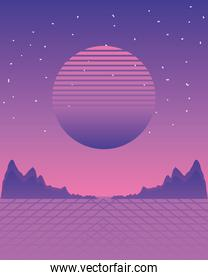 abstract night moon landscape mountains grid surface