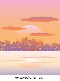 landscape nature sun forest trees sky clouds reflection on water