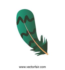 green feather with decorative lines icon