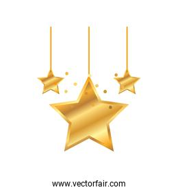 happy new year golden hanging stars decoration
