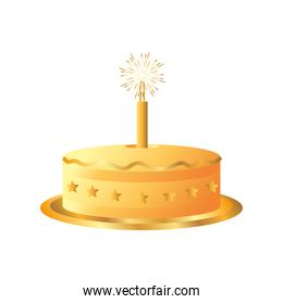 golden cake with firework candle celebration party