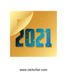 happy new year golden calendar with blue number celebration