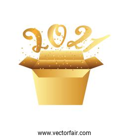 happy new year golden number coming out of cardboard box and confetti