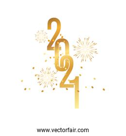 happy new year golden fireworks confetti and numbers celebration