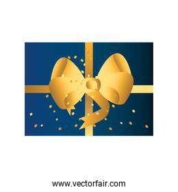 golden and blue gift box with ribbon celebration