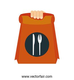 food delivery, hand with paper bag restaurant service