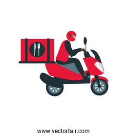 food delivery boy with mask riding red scooter