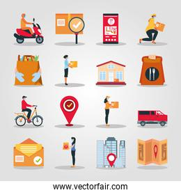 delivery icon set with online service transport logistic food grocery and more