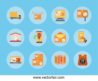 delivery service logistic courier worker box food and transport round blue icons set