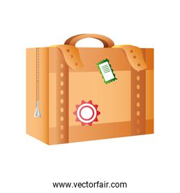vintage suitcase with stickers travel icon image white background