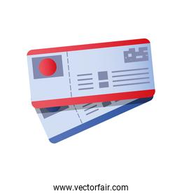 airline tickets boarding pass travel icon image white background