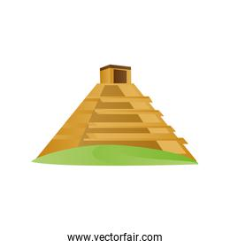 ancient maya pyramid with temple on top travel icon image white background