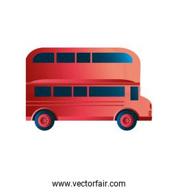 travel red traditional london bus double decker icon image white background