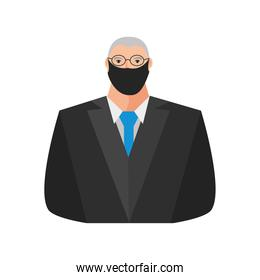 old businessman with mask portrait character