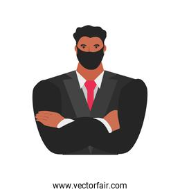 businessman with mask folded arms character