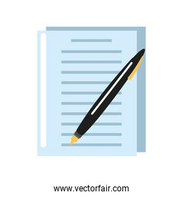 business office document and pen supplies design