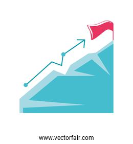 flag on the mountain peak, goal achievement, financial up arrow business